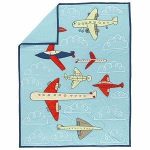 """Land of Nod """"Come Fly With Me"""" Airplane Quilt Twin"""